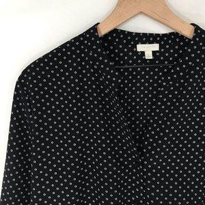 Black & White Talbots Tie-Front Buttondown Top